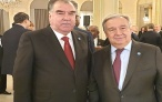 встреча Президента Республики Таджикистан Эмомали Рахмона с Генеральным секретарем ООН Антонио Гутерришем и Президентом Французской Республики Эммануэлем Макроном