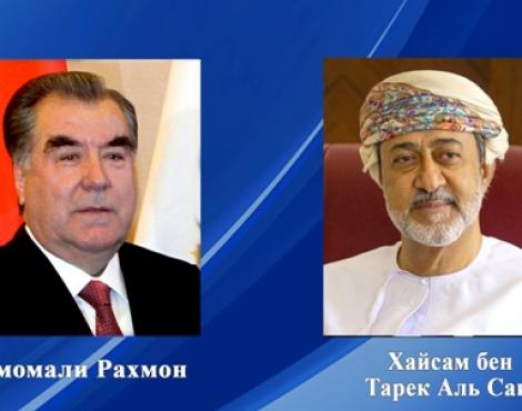 Президент Таджикистана Эмомали Рахмон направил поздравительную телеграмму Султану Султаната Оман Хайсаму бен Тарику Аль Саиду